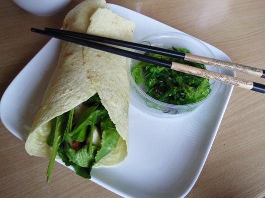 wrap and seaweed salad
