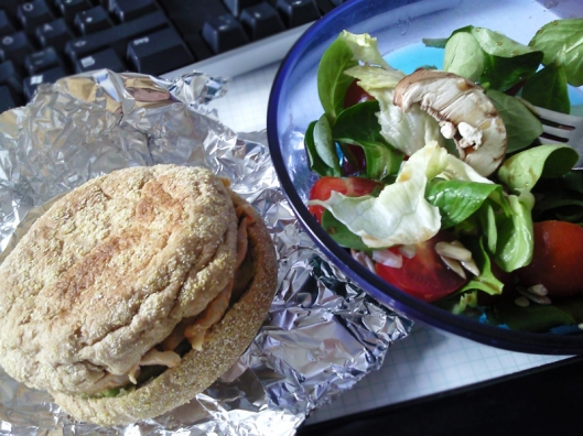 salad and chicken bun